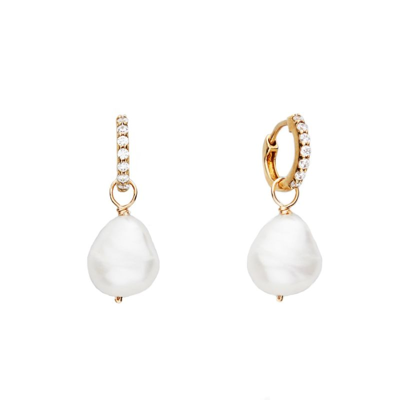 Small Gold Huggie Pearl Drop Earrings image