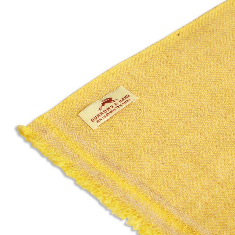 Cashmere & Merino Wool Scarf - Herringbone Yellow image