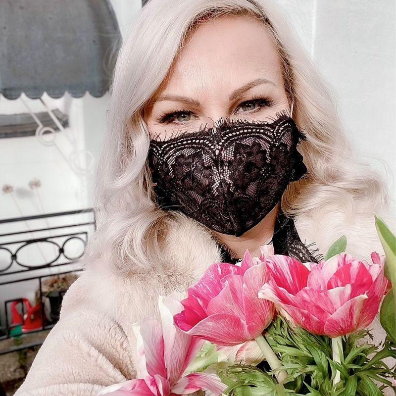 Peach Anthurium Lace Mask image