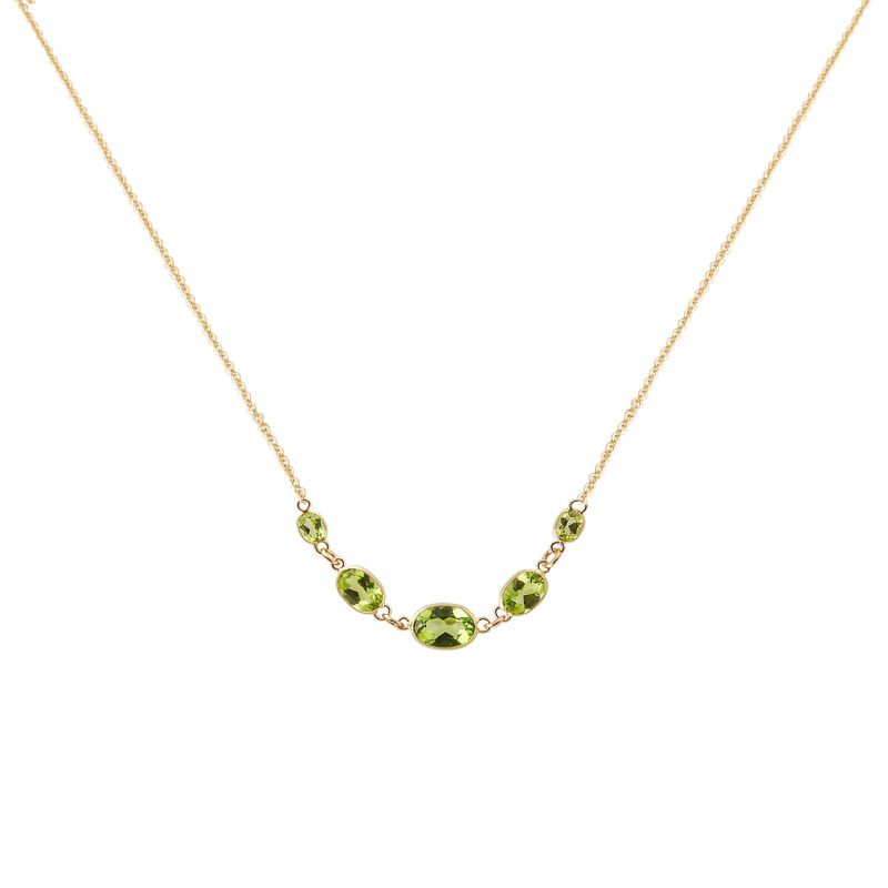 Five Stone Bezel Set Peridot Necklace In 14K Yellow Gold image
