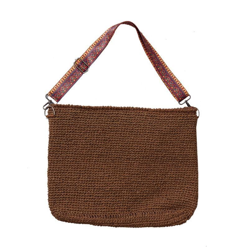 Leros Hand Crochet Tote in Brown image