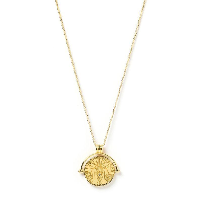 Gemini Zodiac Gold Spinner Necklace image