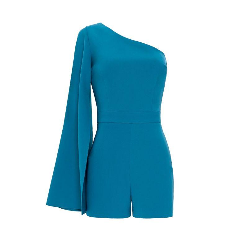 Amon Turquoise One Sleeve Asymmetric Neckline Playsuit image