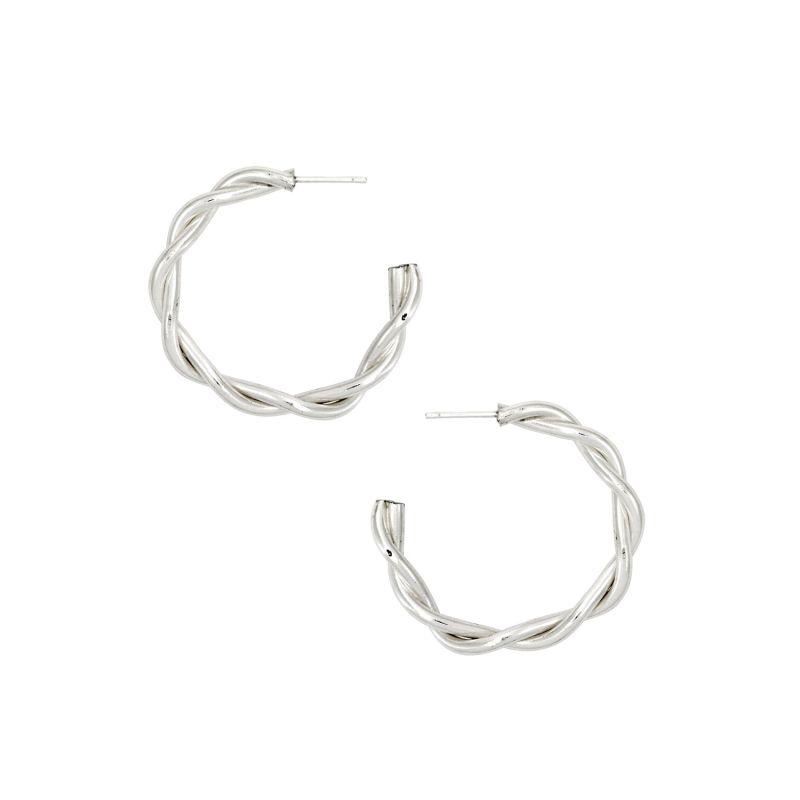 Silver Chunky Twist Hoop Earrings image