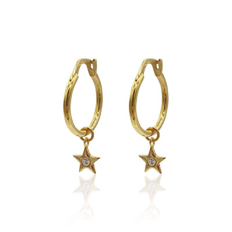 Star Charms Huggie Hoop Earrings With White Topaz In 18K Gold Vermeil image