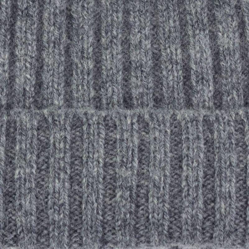 Unisex 100% Lambswool Ribbed Beanie Grey image