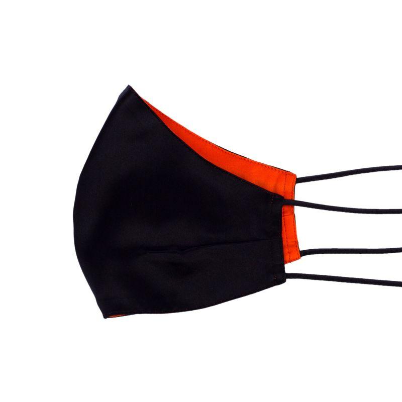 Two-Sided Black & Jaffa Orange Silk Face Mask image