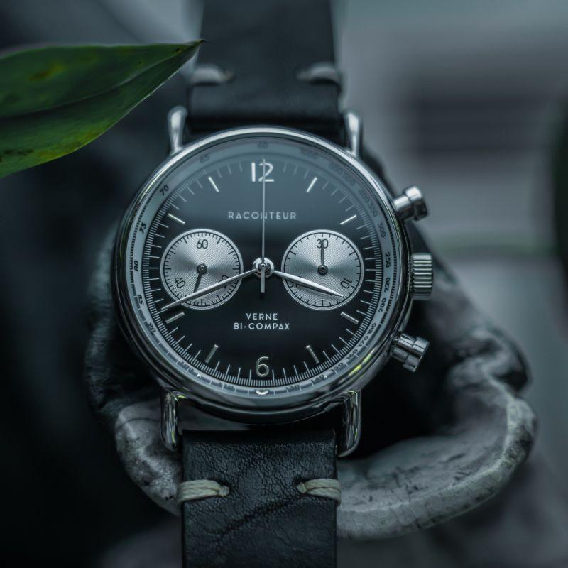 Verne Bi-Compax Silver Black - Bordeaux Leather image