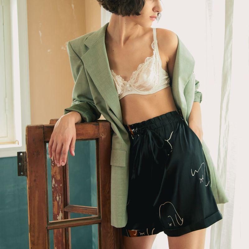 Face Line Art Printed Silk Shorts - Black image