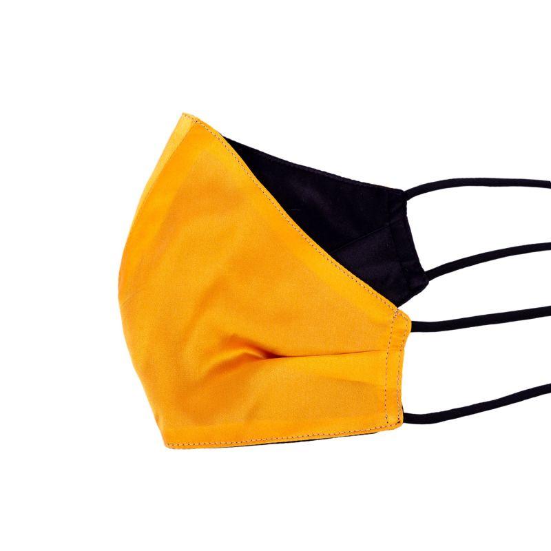 Pack Of 3 Two-Sided Black & Orange Silk Face Mask image