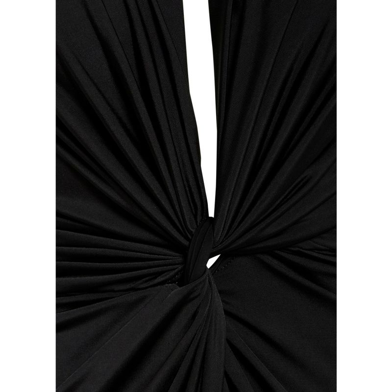 Bianca Black Plunge Front Knot Maxi Dress image