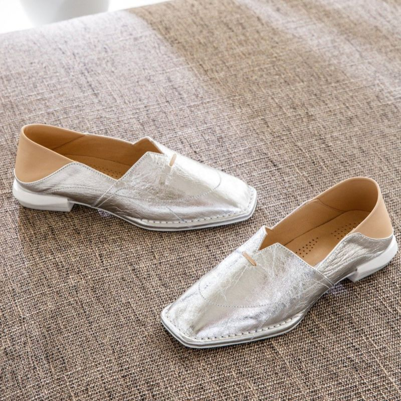Rimal Silver Square Comfortable Leather Loafers image