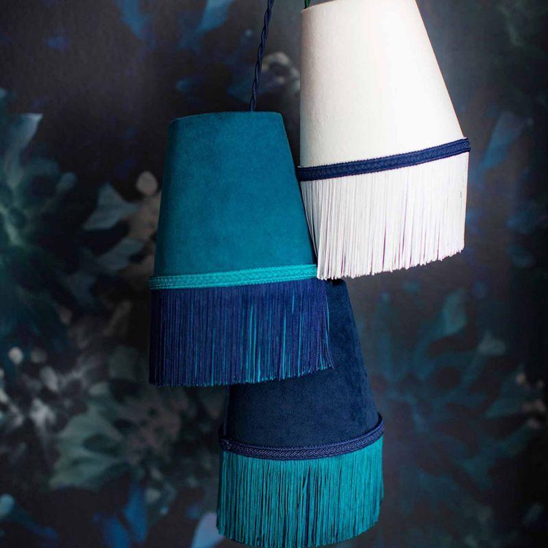 Teal Botanic Velvet Lampshade 16X16Cm With Double Fringing image
