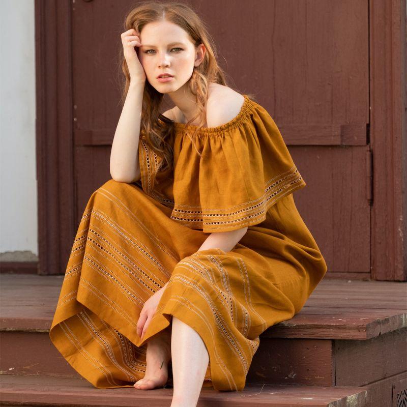 Lyubava Maxi Dress in Gold Mustard image