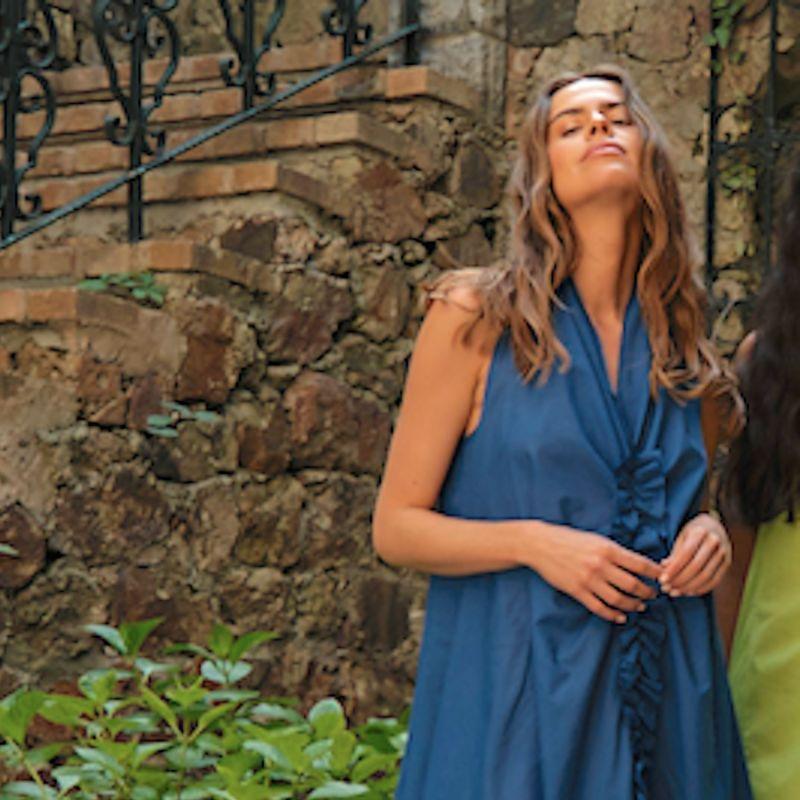 Ruffled Organic Cotton Dress In Blue image