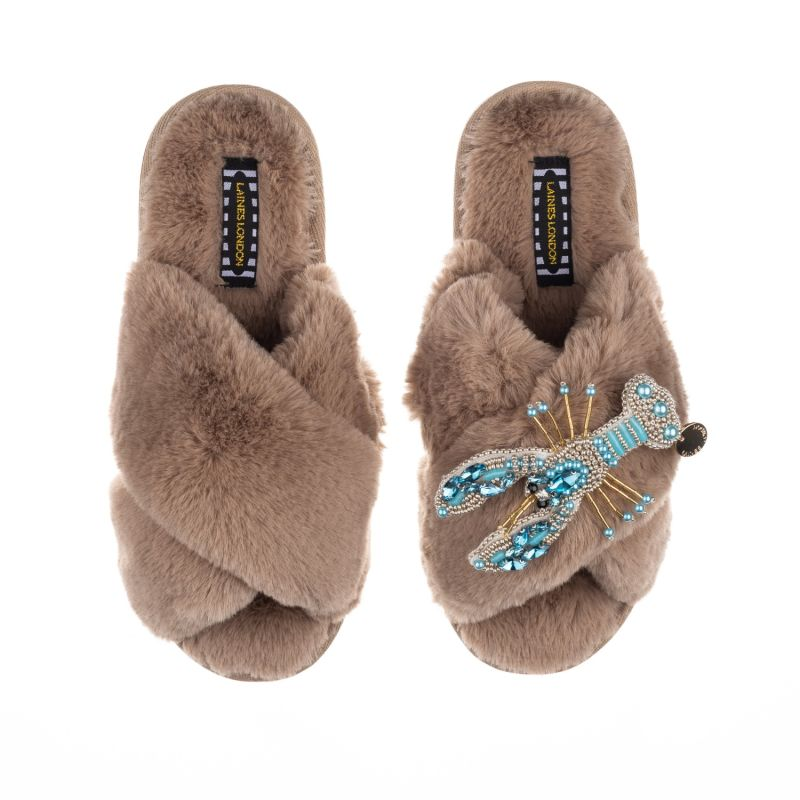 Classic Laines Toffee Slippers With Artisan Pearl Blue Lobster Brooch image