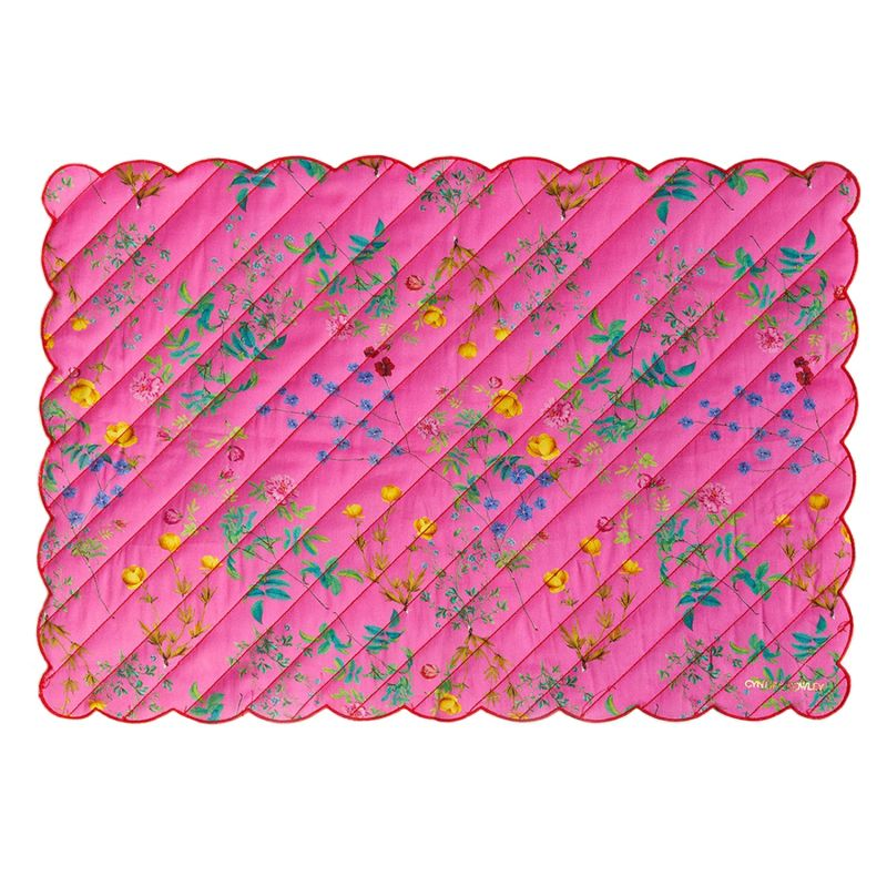 Pink Floral Quilted Cotton Placemat image