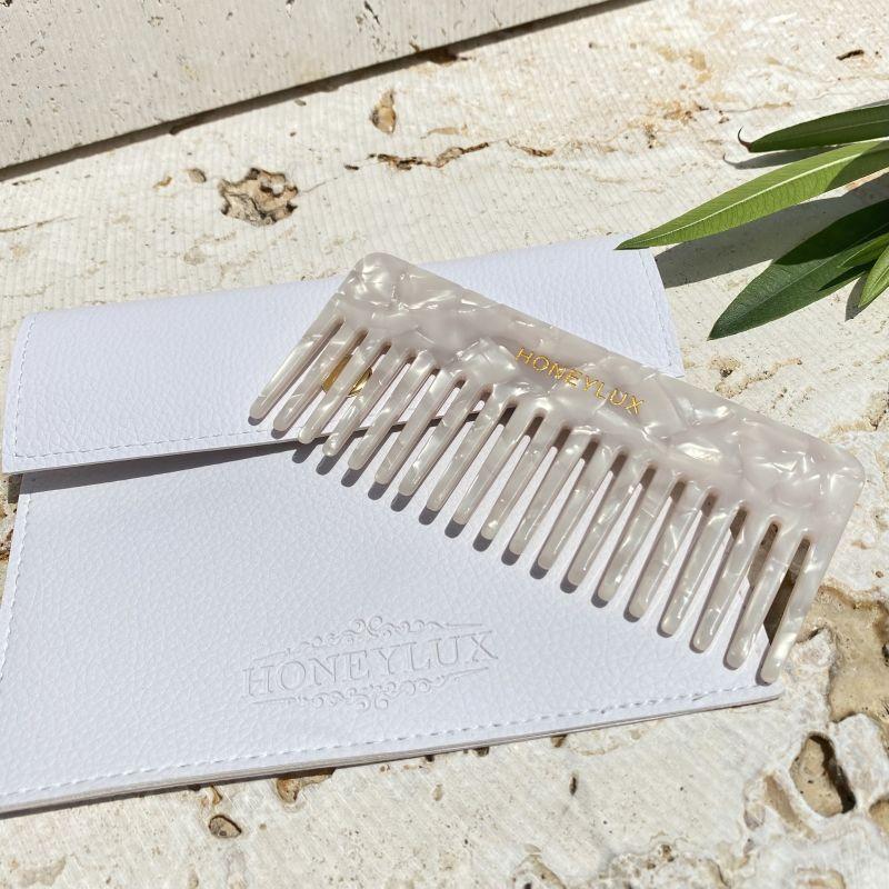 Acetate Detangling Comb - White Pearl image