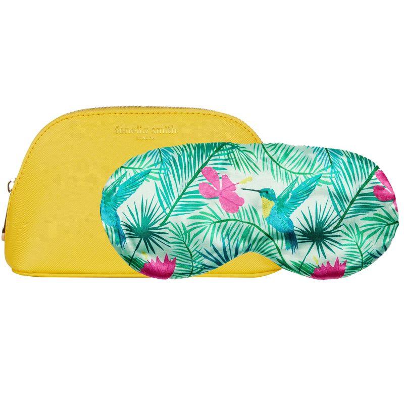 Boxed Hummingbird Eyemask & Yellow Cosmetics Case Gift Set image