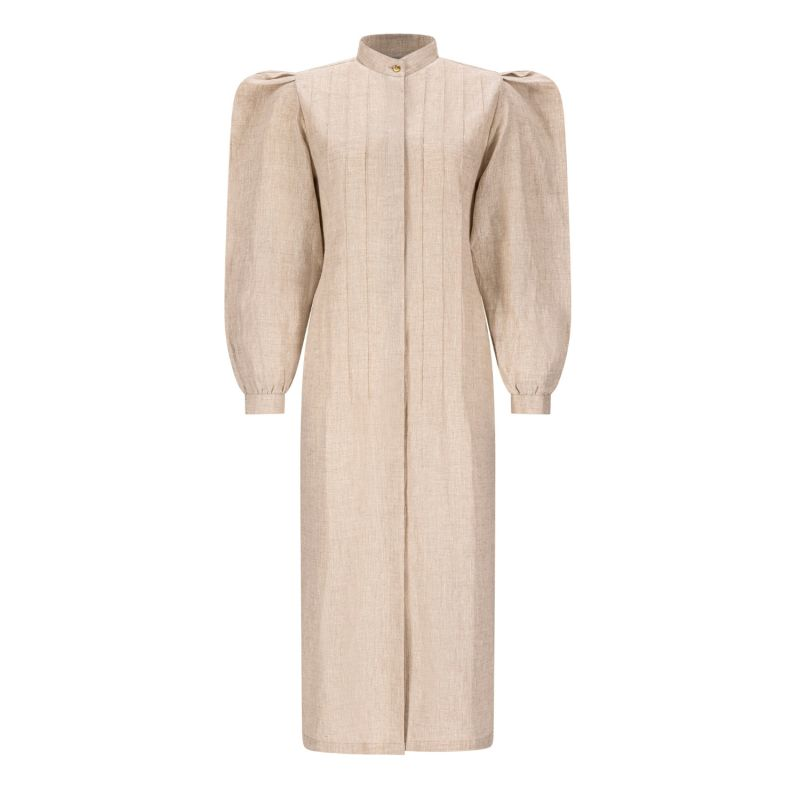 Beige Rose Linen Shirt Dress With Puff Sleeves image