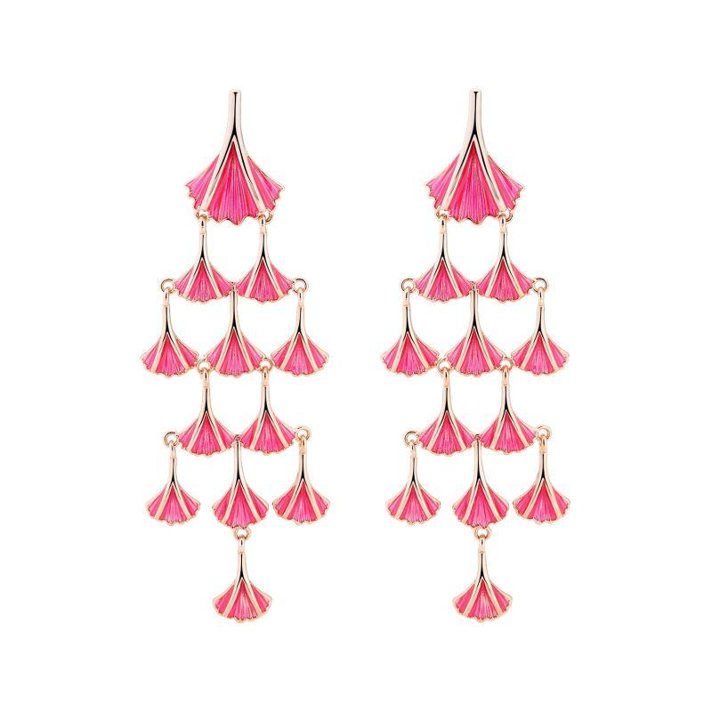 Aya Chandelier Earrings - Bright Pink image