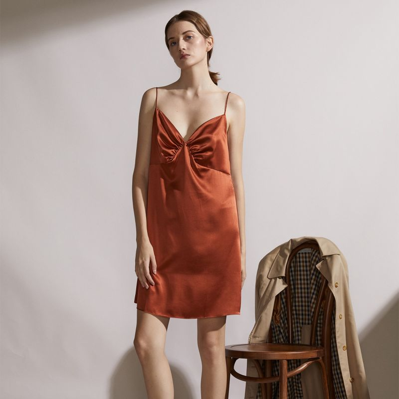 Vacation Silk Slip Dress - Clay Red image