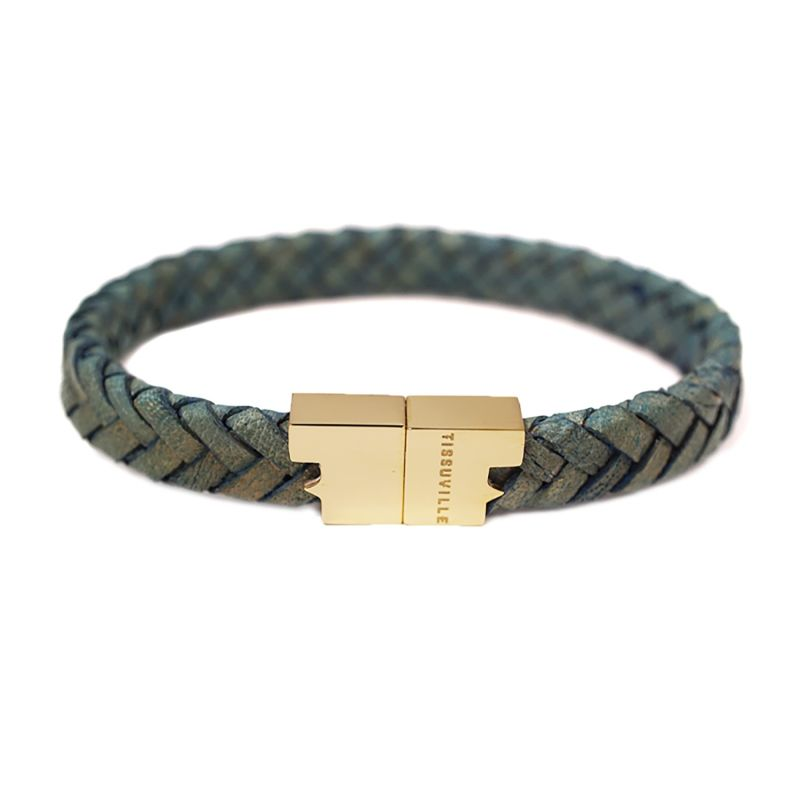 Jargon Jade Leather Bracelet - Serac Gold image