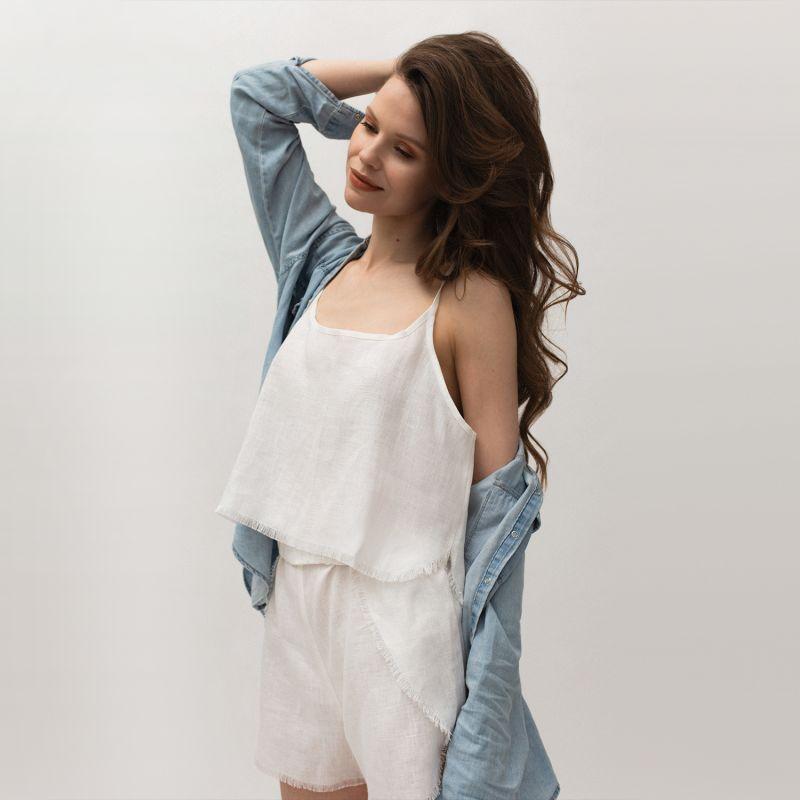 Linen Blend Pyjama Set Women In White image