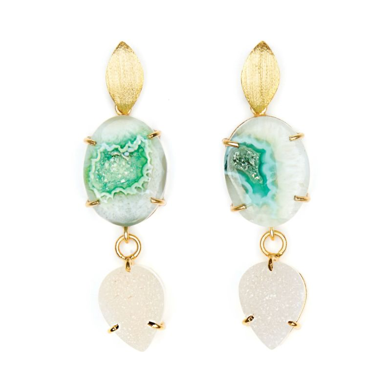 Green Agate & White Druzy Cocktail Earrings image
