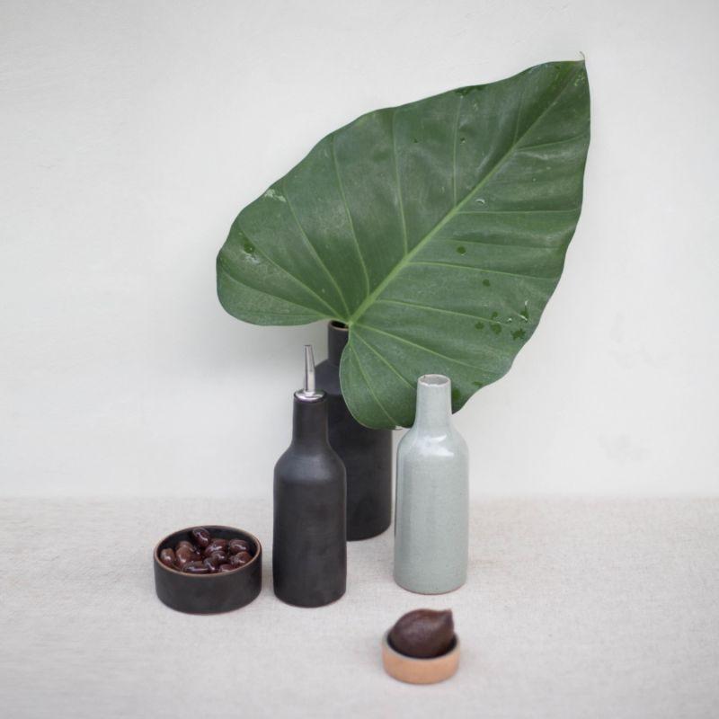 Narti Kecil Ceramic Oil Bottle - Dove Green image