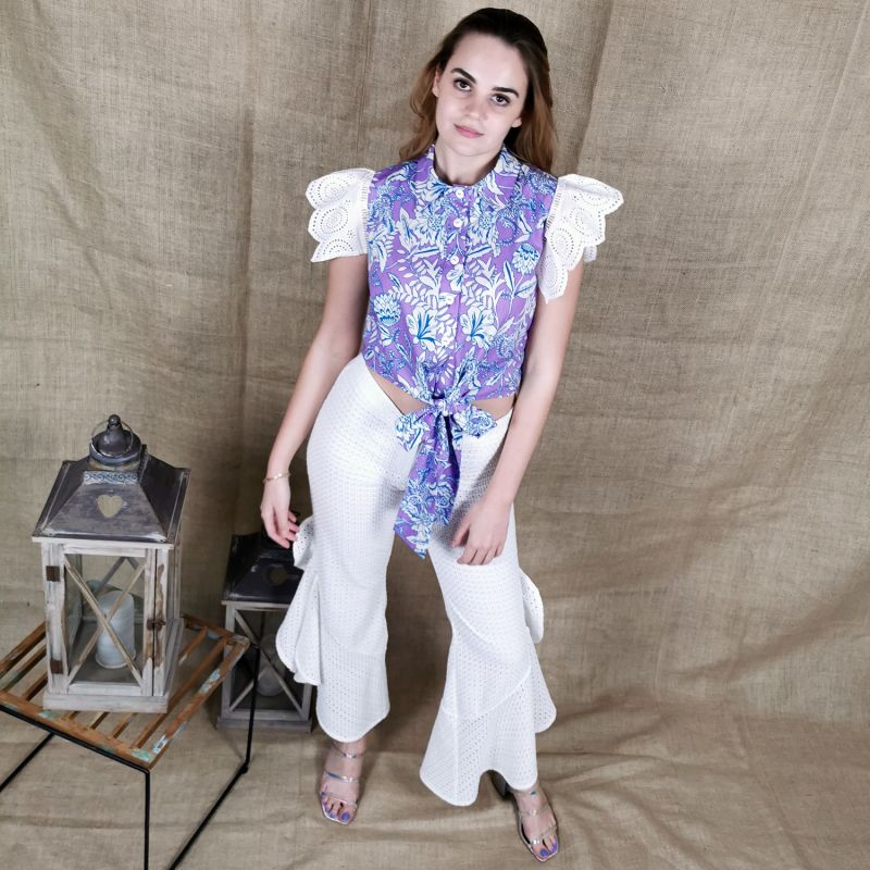 Cotton Shirt With Ruffled Embroidered Sleeves image