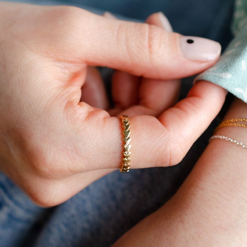 Amethyst Birthstone Always Forever Heart Eternity Ring Gold image