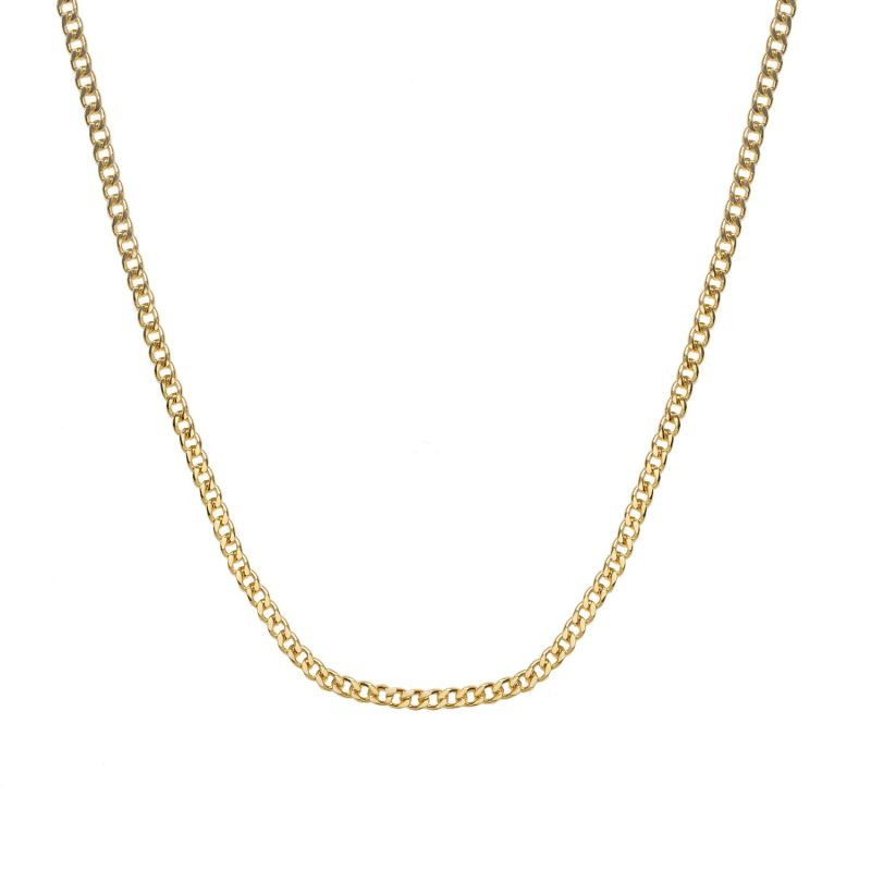 Heavy Curb Chain In Gold | A Heavyweight Flat Link Necklace Chain In 18Ct Gold Vermeil. image