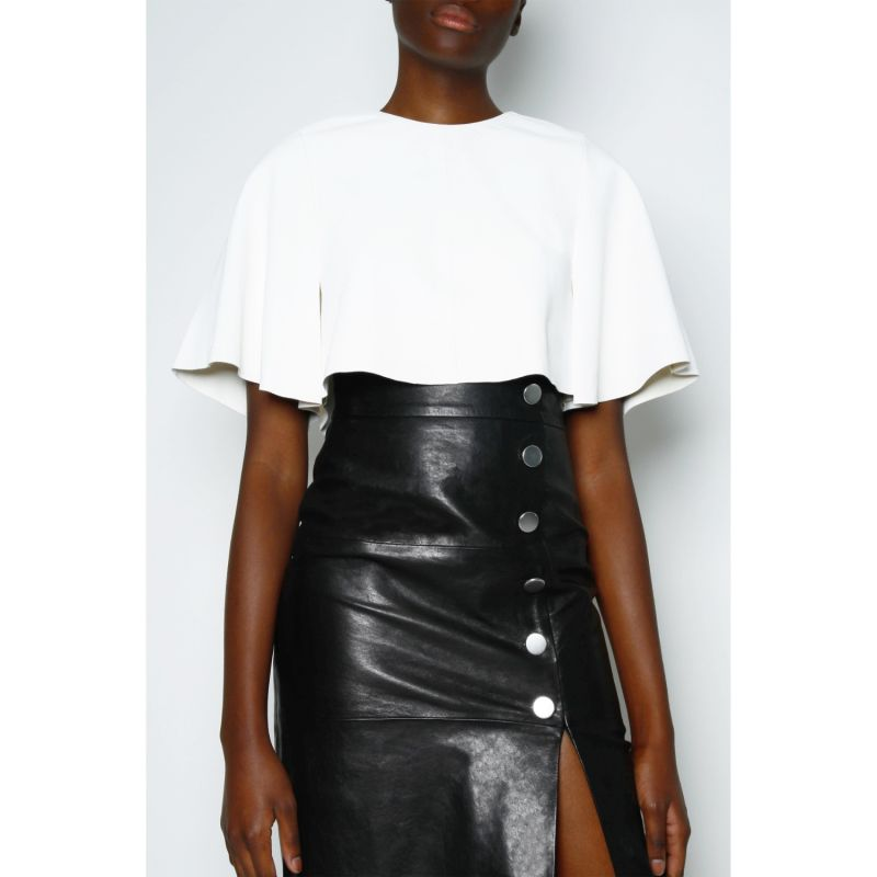 Lucy Button Front Leather Skirt - Black image