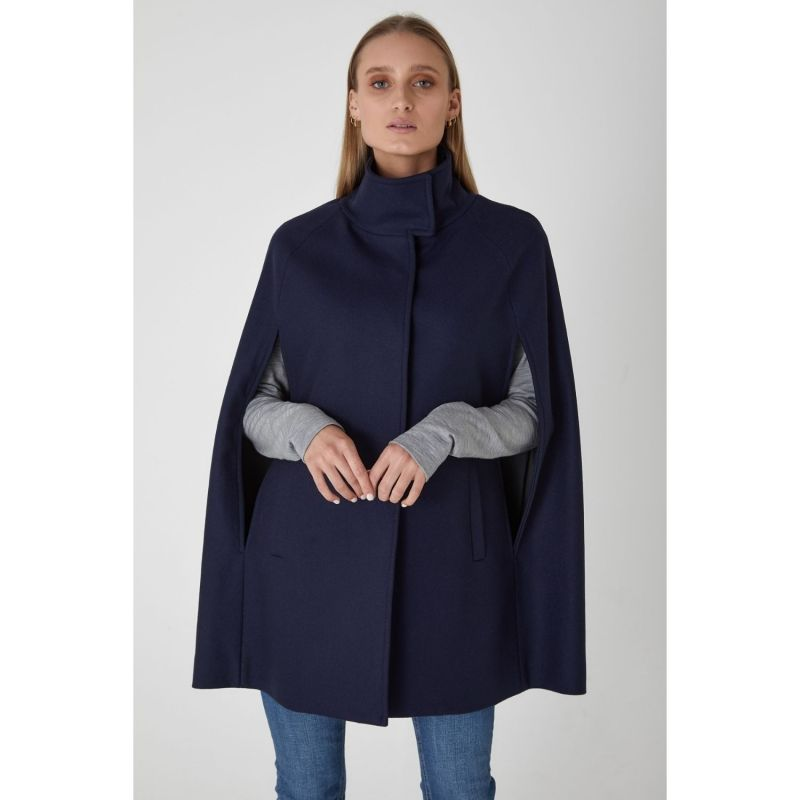 Single Breasted Wool Cashmere Cape - Navy image