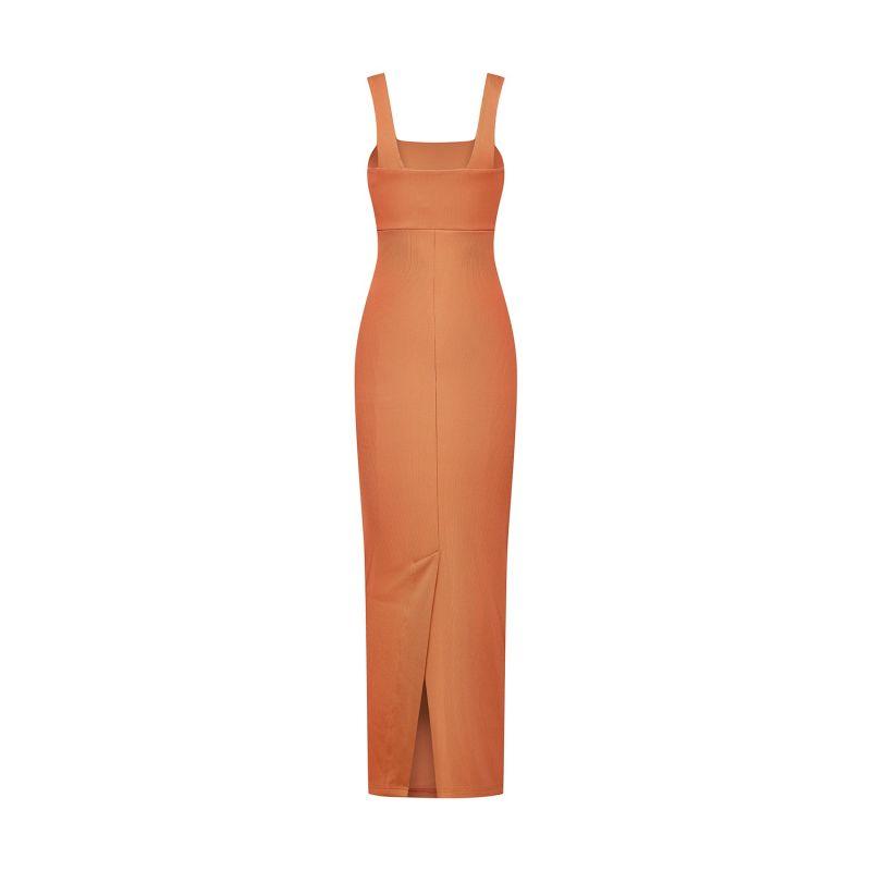 Ribbed Maxi Dress - Orange image