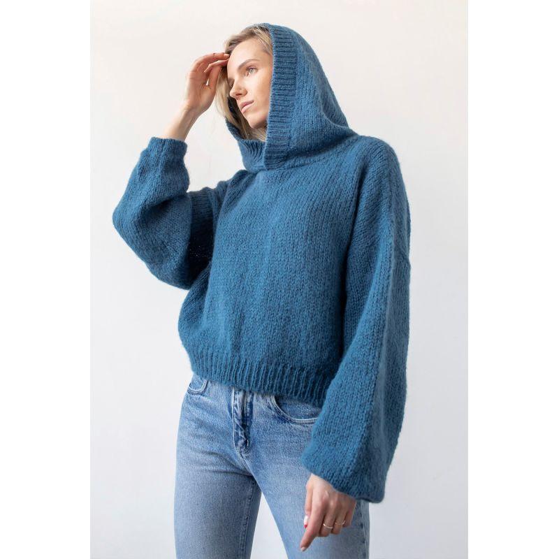 Nuvola Alpaca Blend Hoodie — Denim Blue image