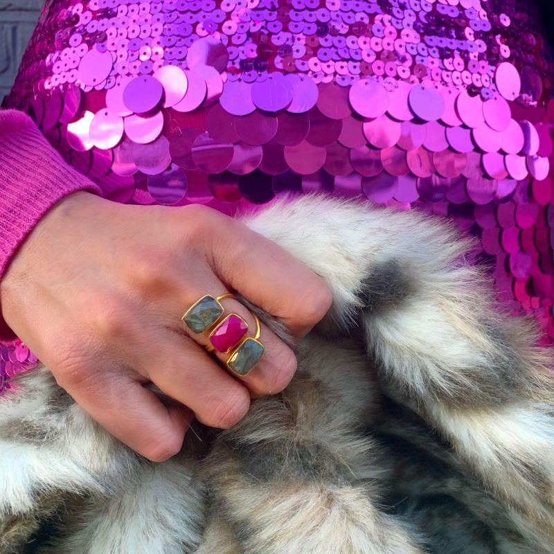 Trilogy Labradorite Pink Gemstone Gold Adjustable Ring image