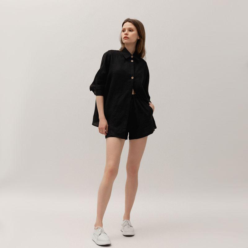 Oversized Linen Shirt & Shorts Set In Black Colour image