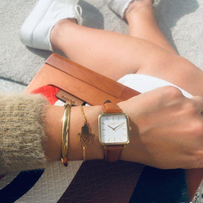Neliö Square Vegan Leather Watch Gold, White & Tan image