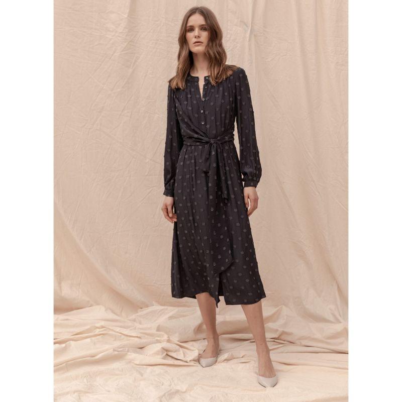 Long Sleeve Midi Claremont Dress - Navy image