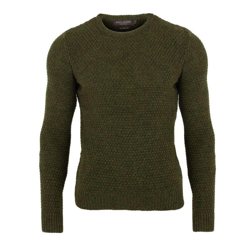 Mens 100% Merino Moss Stitch Fisherman Jumper Green image