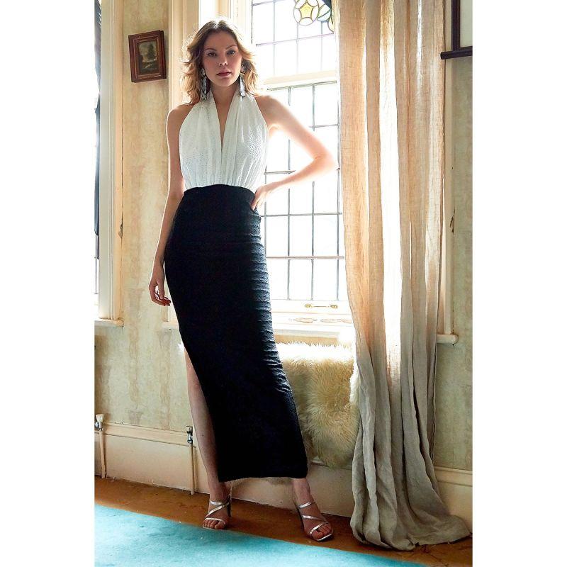 Dakota Halter Neck Backless Monochrome Lace Dress image