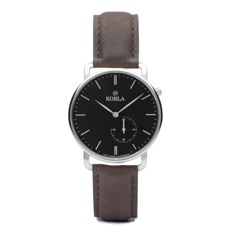 KOBLA Silver Case / Black Dial / Brown Leather image