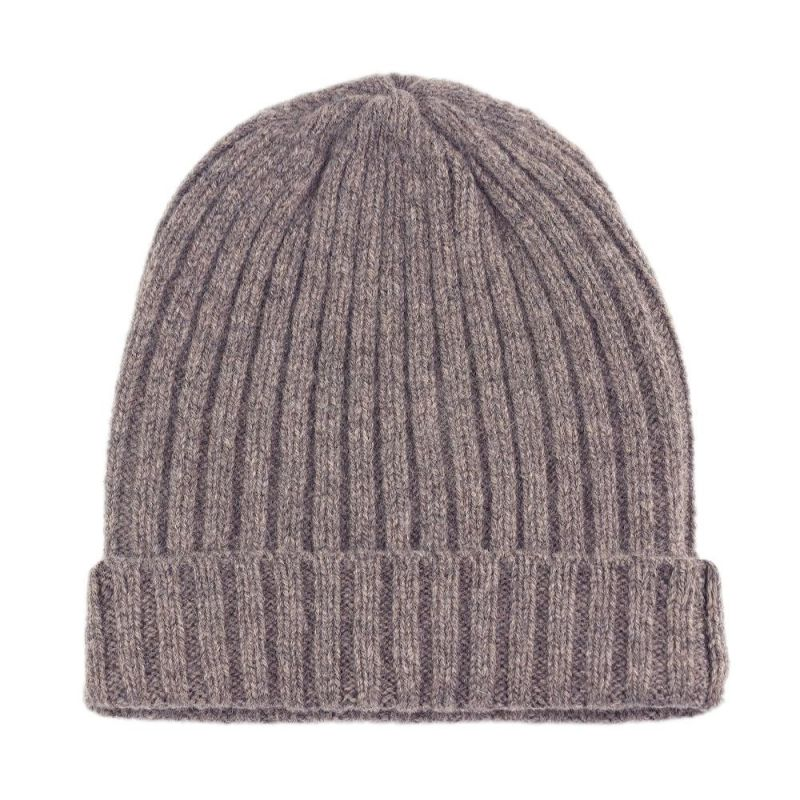Unisex 100% Lambswool Ribbed Beanie Vole image