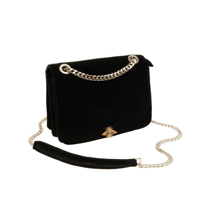Kate Petite Black Suede Bag With Bee Detail image