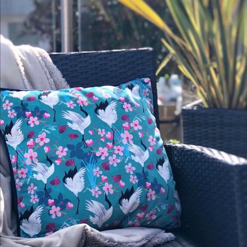 Crane & Blossom Velvet Cushion image