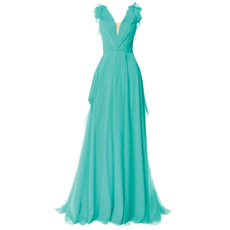 Elegant Tulle Maxi Dress Turquoise image