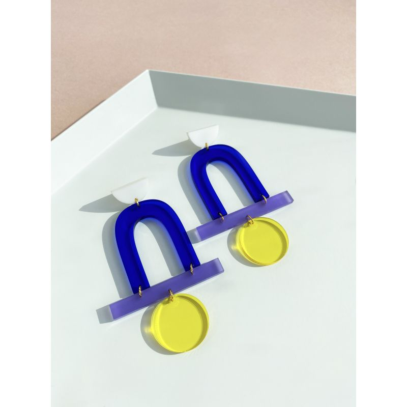 Mega Stack White, Blue, Lilac, Yellow Earrings image