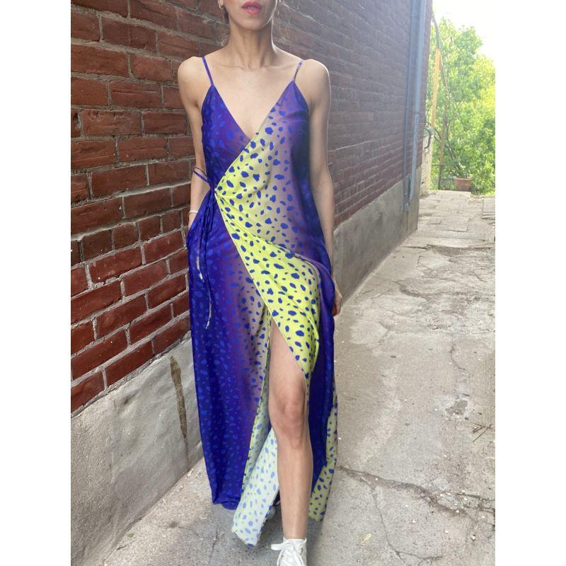 Cobalt Leopard Maxi Wrap Dress image